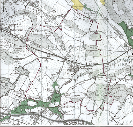 Piddington and Wheeler End Footpaths Map